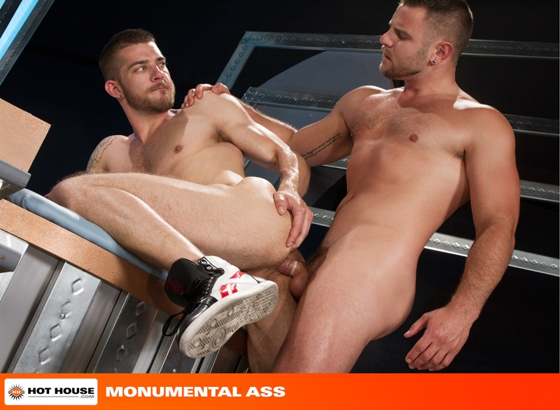 Tryp Bates bends over as Nick Sterling dives face first into his furry hole rimming his deep