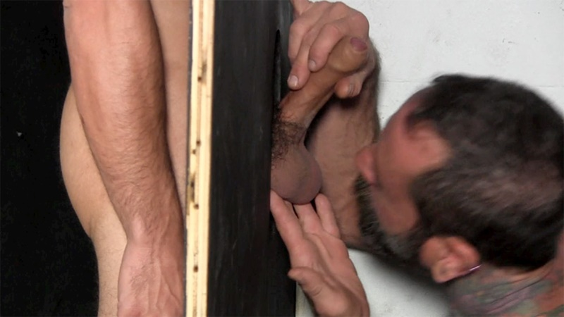 StraightFraternity Victor strips nude glory hole muscular body big thick long uncut dick cocksucking cock sucker young man sucked dry 009 gay porn sex gallery pics video photo - Victor moans loudly as he gets his veiny, uncut cock sucked dry