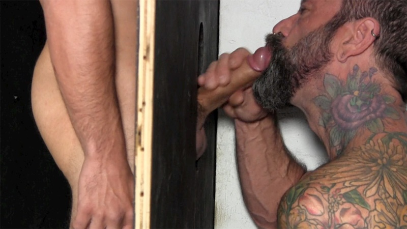 StraightFraternity Victor strips nude glory hole muscular body big thick long uncut dick cocksucking cock sucker young man sucked dry 011 gay porn sex gallery pics video photo - Victor moans loudly as he gets his veiny, uncut cock sucked dry