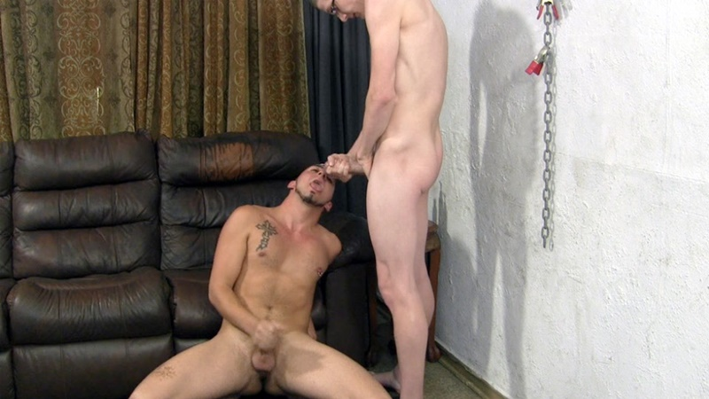 StraightFraternity young sexy naked guy 19 year old Dominic first time sucking two giant cocks off Nico Franco newbie cum eat jizz loads 016 gay porn sex gallery pics video photo - First timer 19 year old Dominic struggles to keep his dick hard