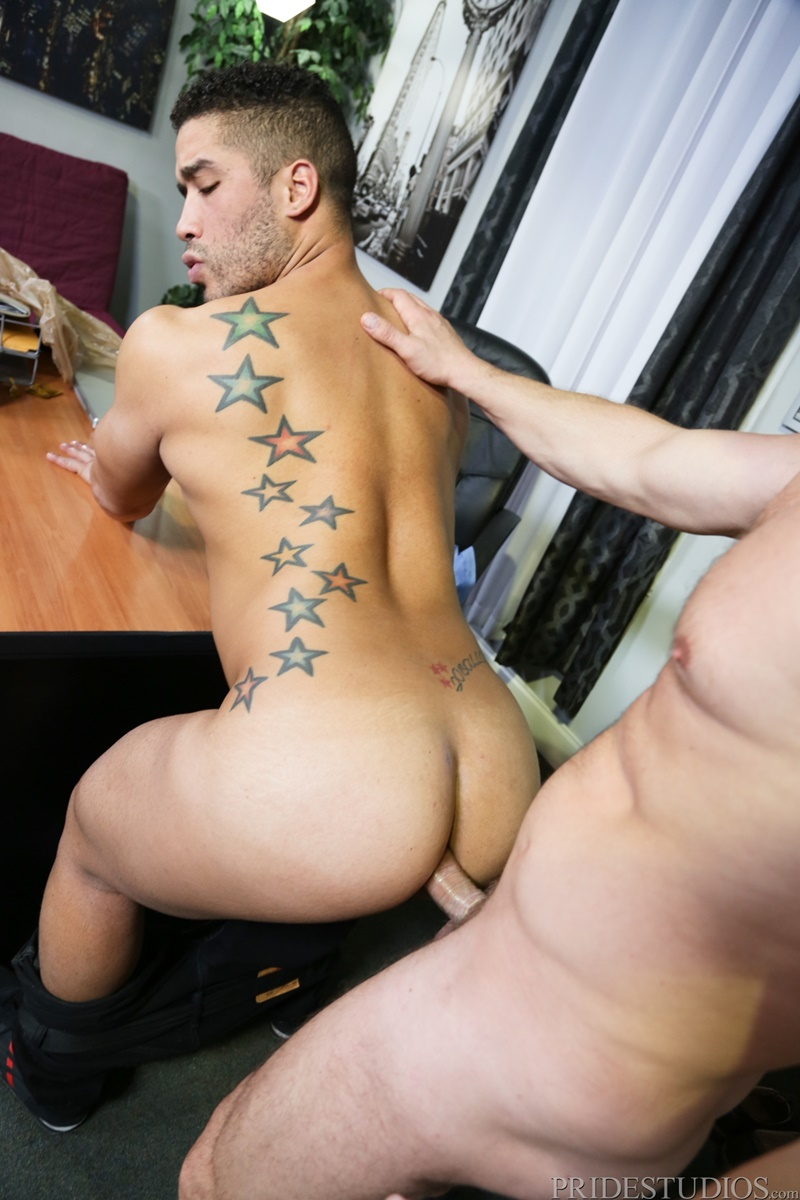 PrideStudios sexy nude dudes Trey Turner rims ass huge large massive cock Hans Berlin tight muscled ass hole cocksucking anal rimming 009 gay porn sex gallery pics video photo - Trey Turner rims his ass then shoves his huge cock deep inside Hans Berlin's eager ass