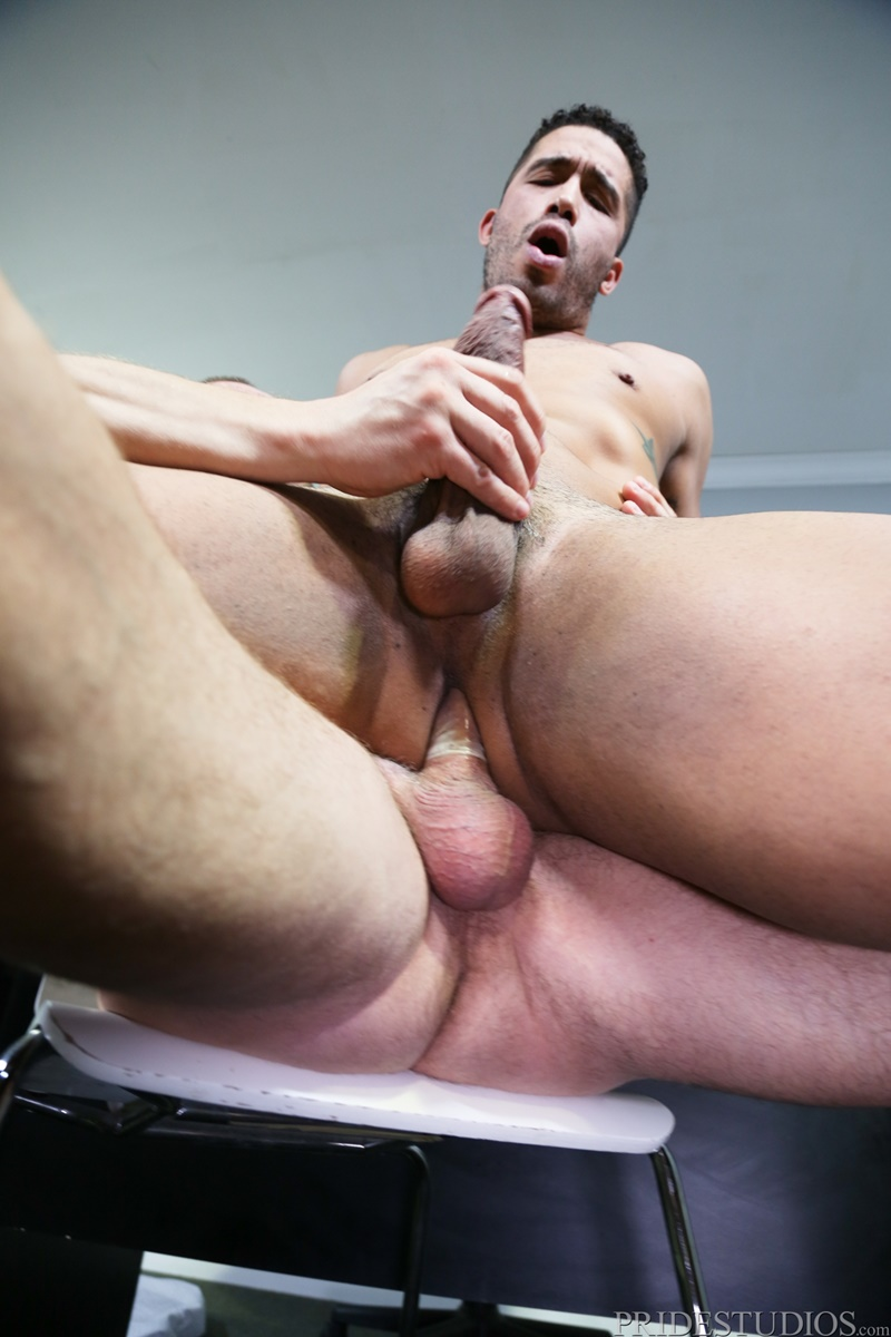 PrideStudios sexy nude dudes Trey Turner rims ass huge large massive cock Hans Berlin tight muscled ass hole cocksucking anal rimming 012 gay porn sex gallery pics video photo - Trey Turner rims his ass then shoves his huge cock deep inside Hans Berlin's eager ass