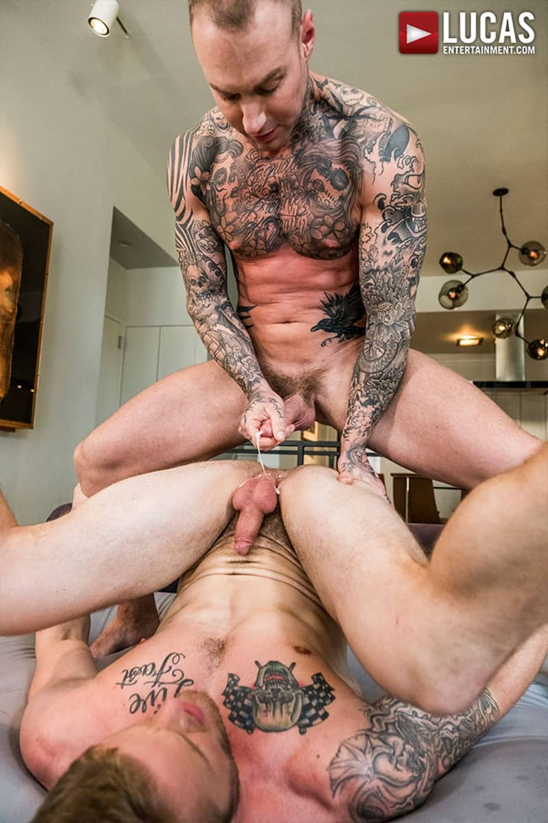 image Two guys empty their balls over a hot girl at a party
