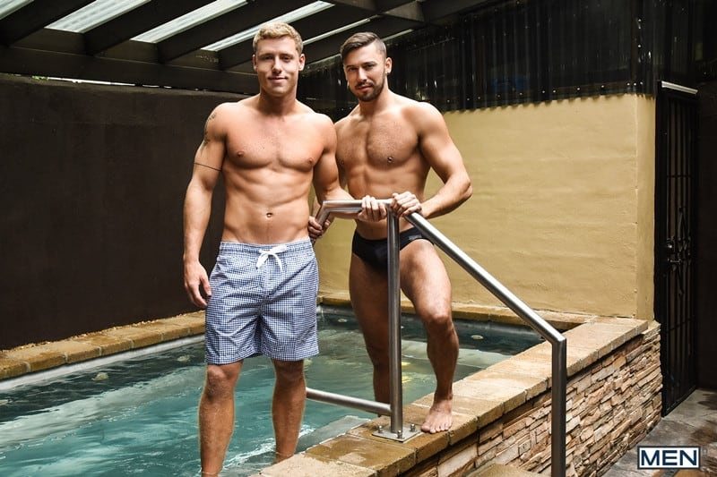 Men for Men Blog Justin-Matthews-and-Shane-Jackson-dildo-ass-play-Men-com-001-gay-porn-pics-gallery Justin Matthews is shocked to find Shane Jackson in the pool taking a huge dildo up his ass Men