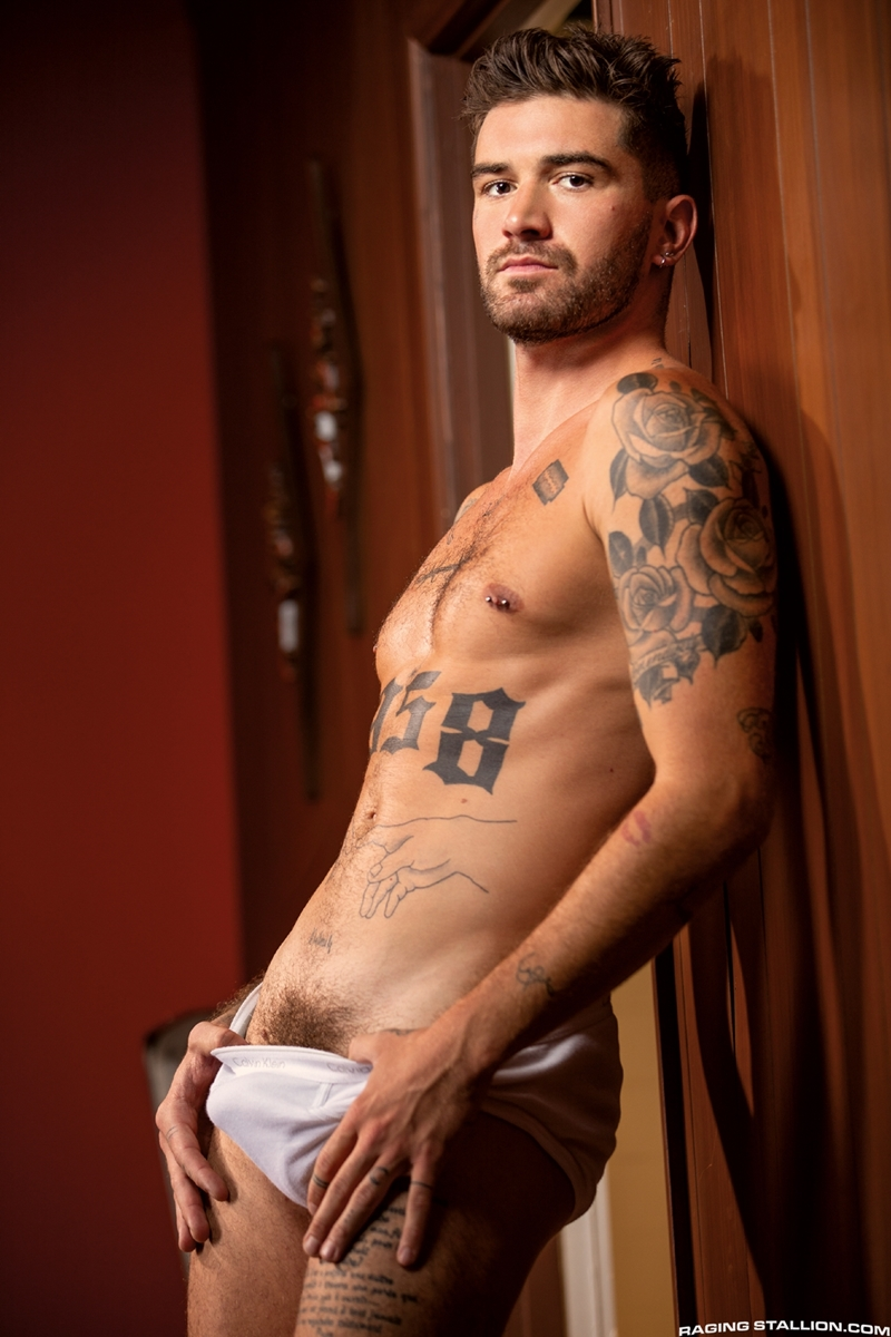 Raging Stallion hot tattooed muscle hunk Chris Damned huffs used underwear wanking huge thick uncut cock 004 gay porn pics - Raging Stallion hot tattooed muscle hunk Chris Damned huffs used underwear while wanking his huge thick uncut cock