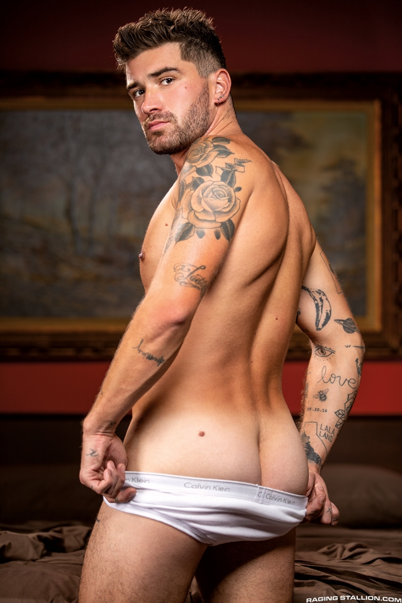 Raging Stallion hot tattooed muscle hunk Chris Damned huffs used underwear wanking huge thick uncut cock 005 gay porn pics - Raging Stallion hot tattooed muscle hunk Chris Damned huffs used underwear while wanking his huge thick uncut cock