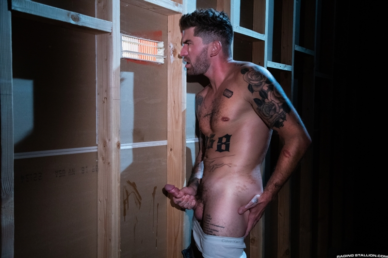 Raging Stallion hot tattooed muscle hunk Chris Damned huffs used underwear wanking huge thick uncut cock 007 gay porn pics - Raging Stallion hot tattooed muscle hunk Chris Damned huffs used underwear while wanking his huge thick uncut cock