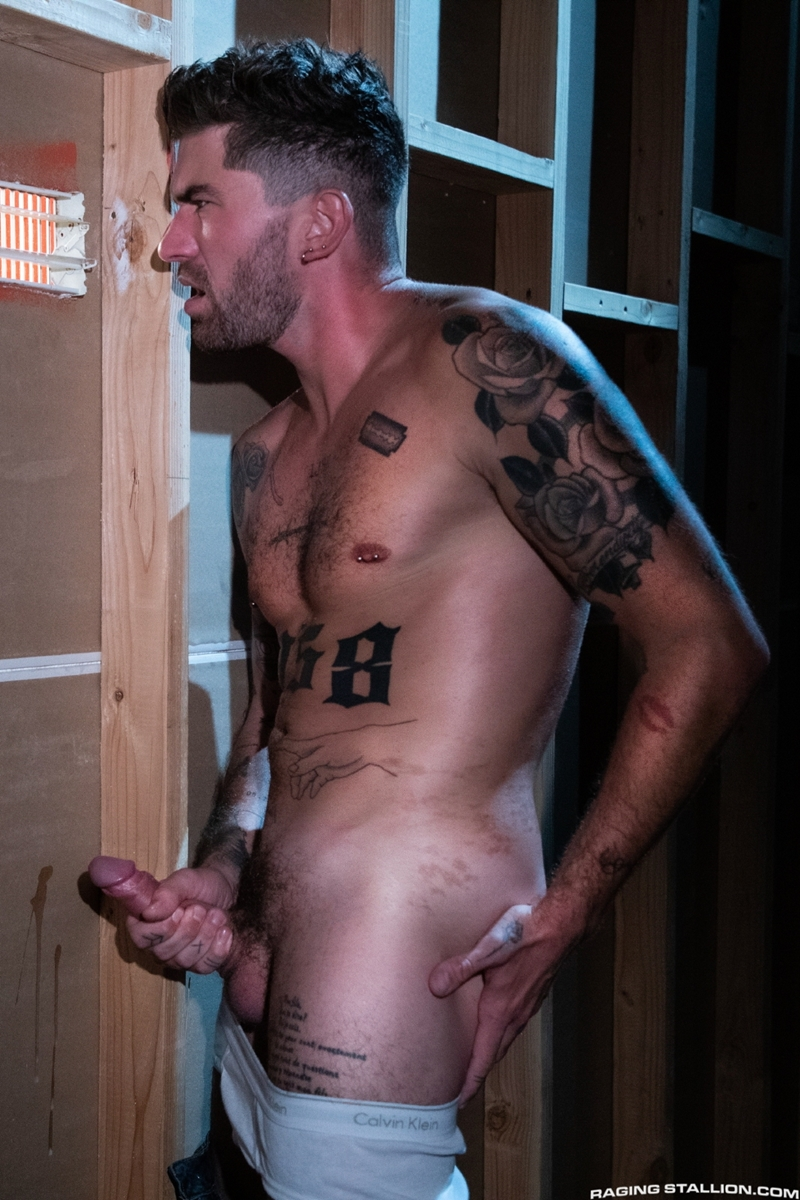 Raging Stallion hot tattooed muscle hunk Chris Damned huffs used underwear wanking huge thick uncut cock 008 gay porn pics - Raging Stallion hot tattooed muscle hunk Chris Damned huffs used underwear while wanking his huge thick uncut cock