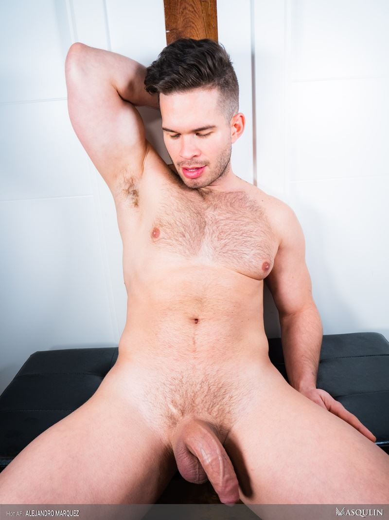 Sexy young hairy chested hunk Masqulin Alejandro Marquez strokes huge cum load 014 gay porn pics - Sexy young hairy chested hunk Masqulin Alejandro Marquez strokes out a huge cum load