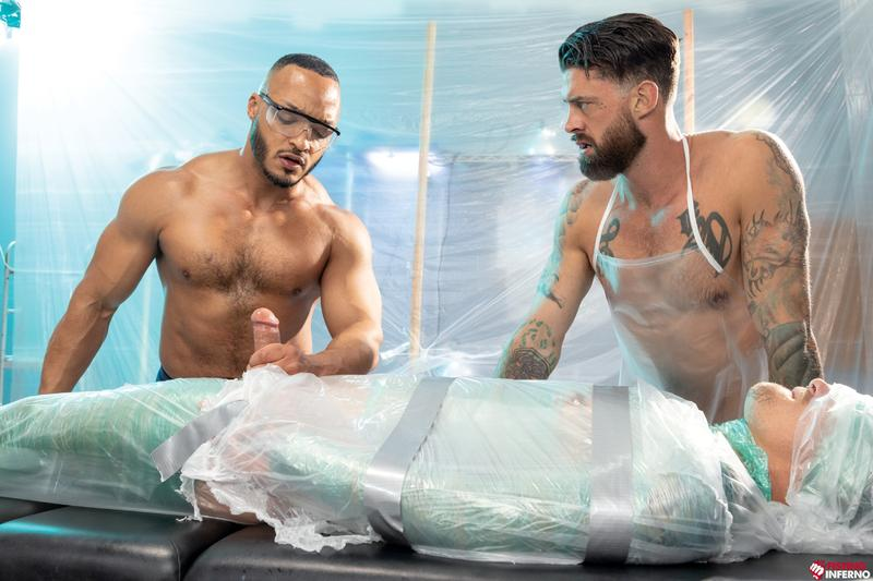 Bondage muscle studs Alpha Wolfe Dillon Diaz wanking plastic wrapped Isaac X huge cock Fisting Inferno 0 image gay porn - Bondage muscle studs Alpha Wolfe and Dillon Diaz's wanking plastic wrapped Isaac X's huge cock at Fisting Inferno