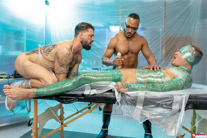 Bondage muscle studs Alpha Wolfe Dillon Diaz wanking plastic wrapped Isaac X huge cock Fisting Inferno 13 image gay porn - Bondage muscle studs Alpha Wolfe and Dillon Diaz's wanking plastic wrapped Isaac X's huge cock at Fisting Inferno