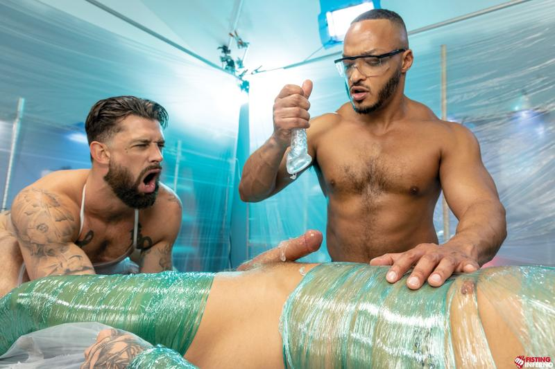 Bondage muscle studs Alpha Wolfe Dillon Diaz wanking plastic wrapped Isaac X huge cock Fisting Inferno 14 image gay porn - Bondage muscle studs Alpha Wolfe and Dillon Diaz's wanking plastic wrapped Isaac X's huge cock at Fisting Inferno
