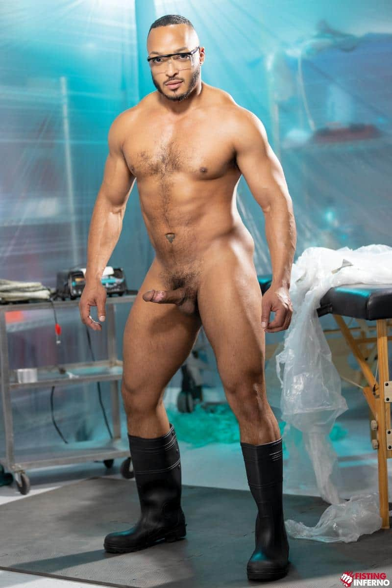 Bondage muscle studs Alpha Wolfe Dillon Diaz wanking plastic wrapped Isaac X huge cock Fisting Inferno 2 image gay porn - Bondage muscle studs Alpha Wolfe and Dillon Diaz's wanking plastic wrapped Isaac X's huge cock at Fisting Inferno