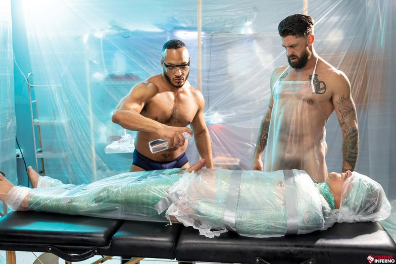 Bondage muscle studs Alpha Wolfe Dillon Diaz wanking plastic wrapped Isaac X huge cock Fisting Inferno 7 image gay porn - Bondage muscle studs Alpha Wolfe and Dillon Diaz's wanking plastic wrapped Isaac X's huge cock at Fisting Inferno