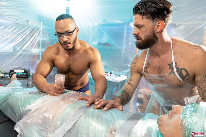 Bondage muscle studs Alpha Wolfe Dillon Diaz wanking plastic wrapped Isaac X huge cock Fisting Inferno 8 image gay porn - Bondage muscle studs Alpha Wolfe and Dillon Diaz's wanking plastic wrapped Isaac X's huge cock at Fisting Inferno