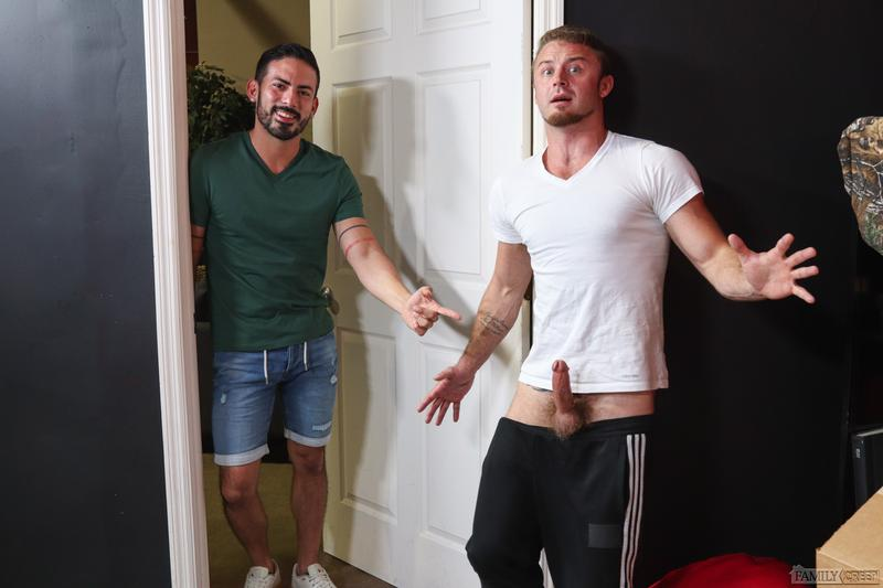 Stepbrother sexy hairy hunk Chad Taylor huge raw cock bareback fucking Cesar Rossi Pride Studios 7 image gay porn - Stepbrother sexy hairy hunk Chad Taylor's huge raw cock bareback fucking Cesar Rossi at Pride Studios