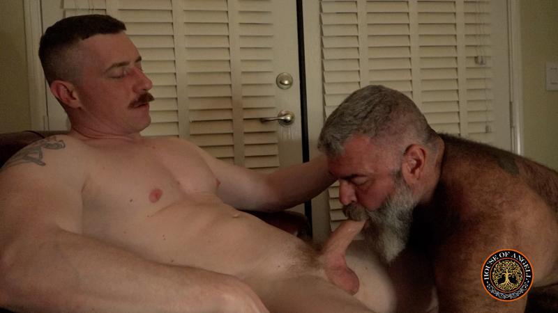 House of Angell young hunk Jack Reed huge thick uncut cock serviced hairy daddy Will Angell 0 image gay porn - House of Angell young hunk Jack Reed's huge thick uncut cock serviced by hairy daddy Will Angell